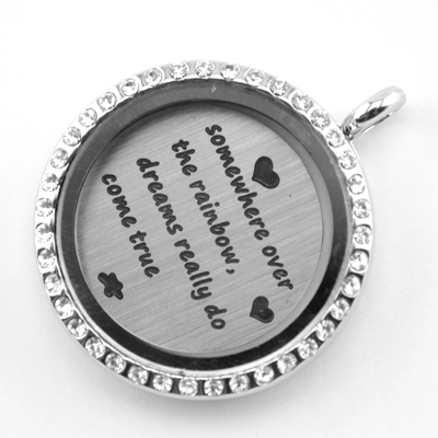 Free shipping 22mm Stainless Steel floating charms somewhere over the rainbow,dreams really do come true floating plates