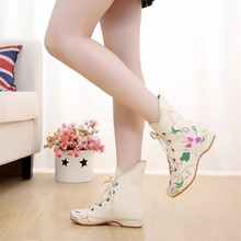 Plus Size Women Autumn Winter Boots Women Embroidery Flower Ankle Boots Lace Up Low Heel Boots Shoes Canvas Retro Short Boot plus size 35 43 women autumn ankle boots patent leather low heel shoes lace up glitter metal short boot for female casual shoes