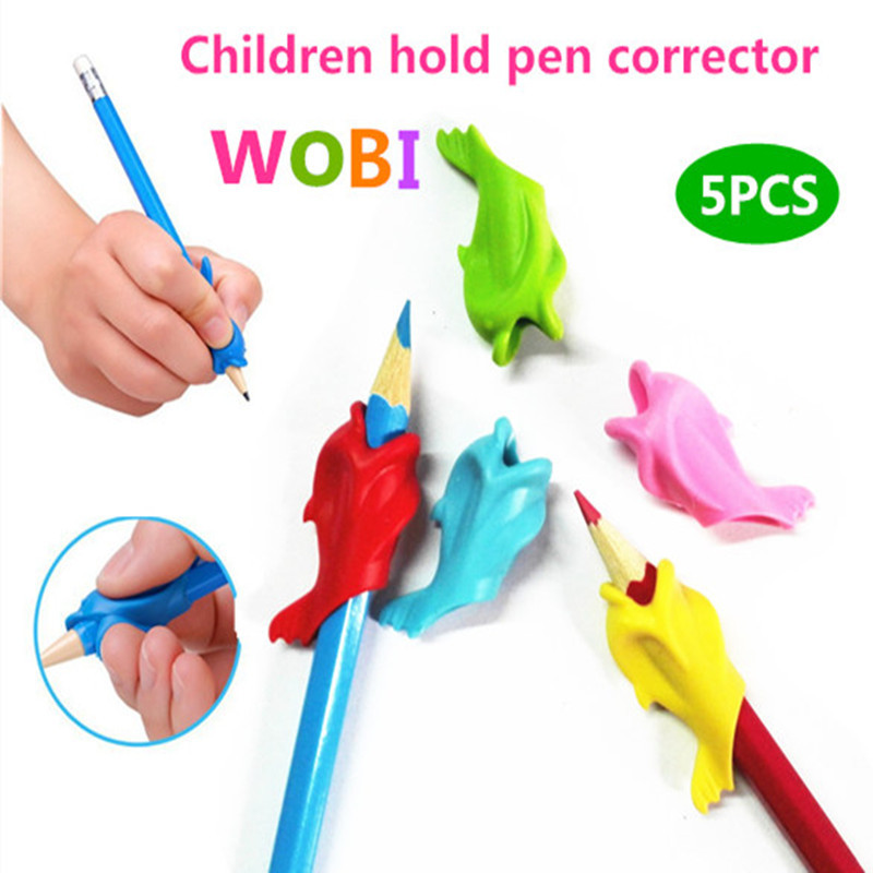 High Quality Silicon 5Pcs Best Gift Dolphin Fish Style Children Pencil Students Hold a Pen writing Drawing Posture Correction