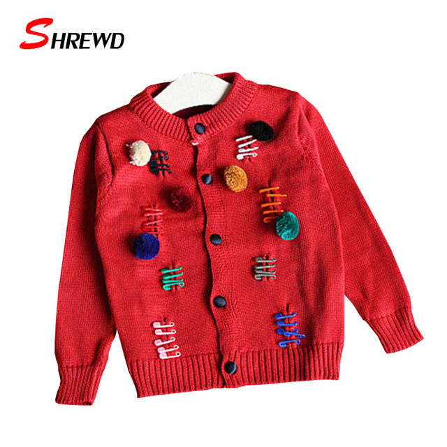 Baby Girl Knit Sweater 2017 Winter New Casual Ball Girls Knitted Cardigan Long Sleeve Simple Solid Kids Clothes Girls 6441W