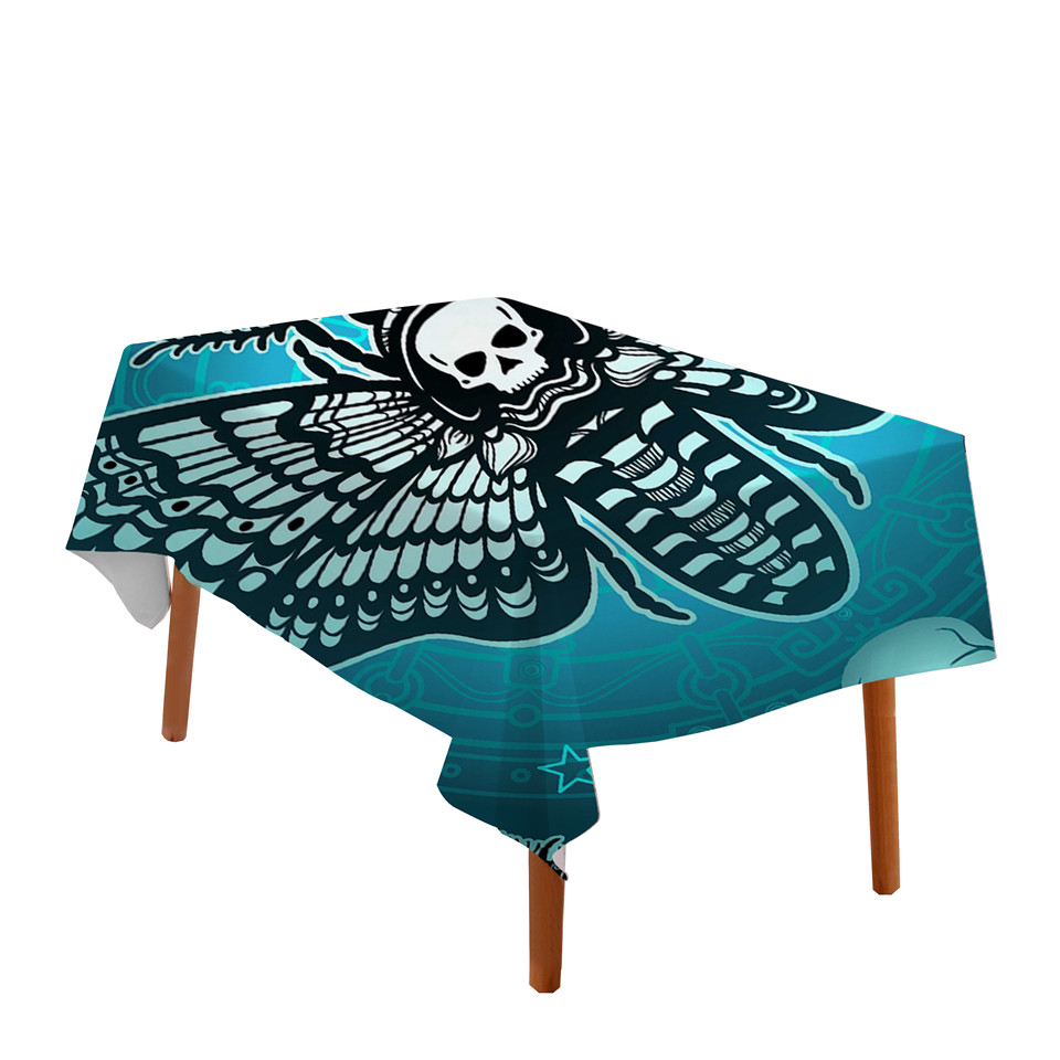 Beddingoutlet Death Moth Tablecloth Gothic Skull Waterproof Table