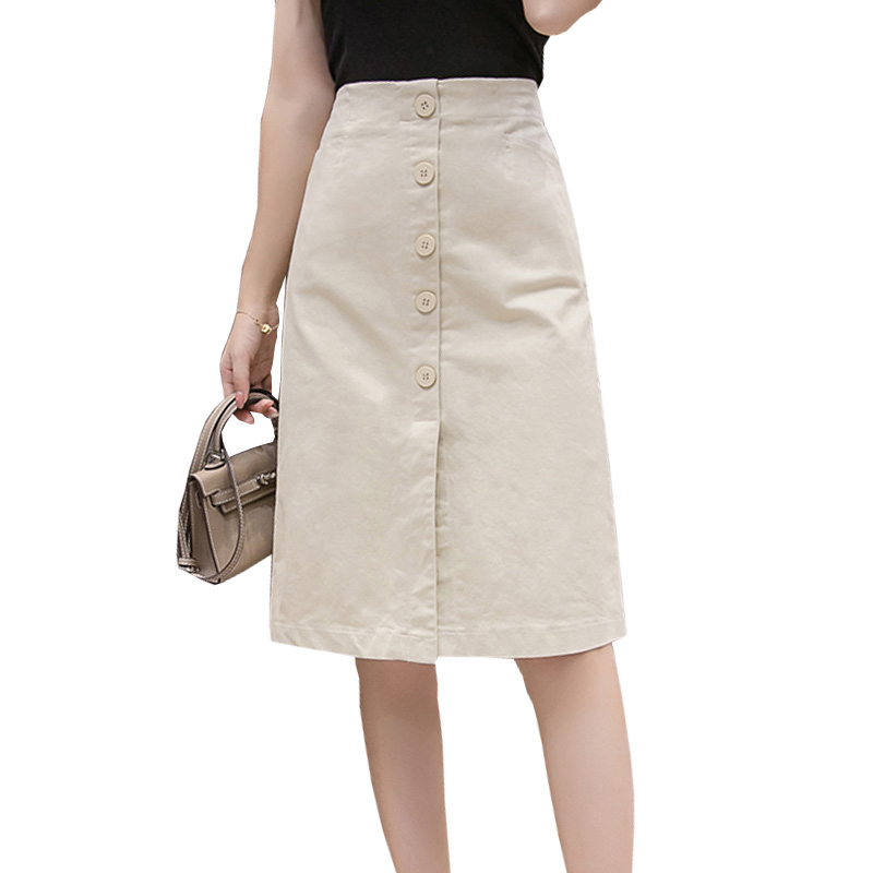 Shintimes Faldas Mujer Moda 2019 Summer Knee Length Pencil Skirts Women Button High Waist Black White Split Vintage School Skirt