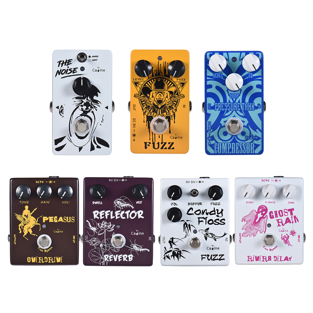 Caline New Series Guitar Effect Pedal 7 Effects Overdrive/Reverb/ Fuzz/ Noise Reduction Guitar Pedal Guitar Parts & Accessories
