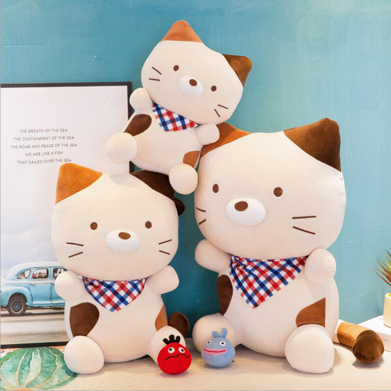 New Style Cute Scarf Cat Short Plush Toys Stuffed Animal Doll Toy Soft Plush Pillow Children Kids Birthday Gift in Stuffed Plush Animals from Toys Hobbies