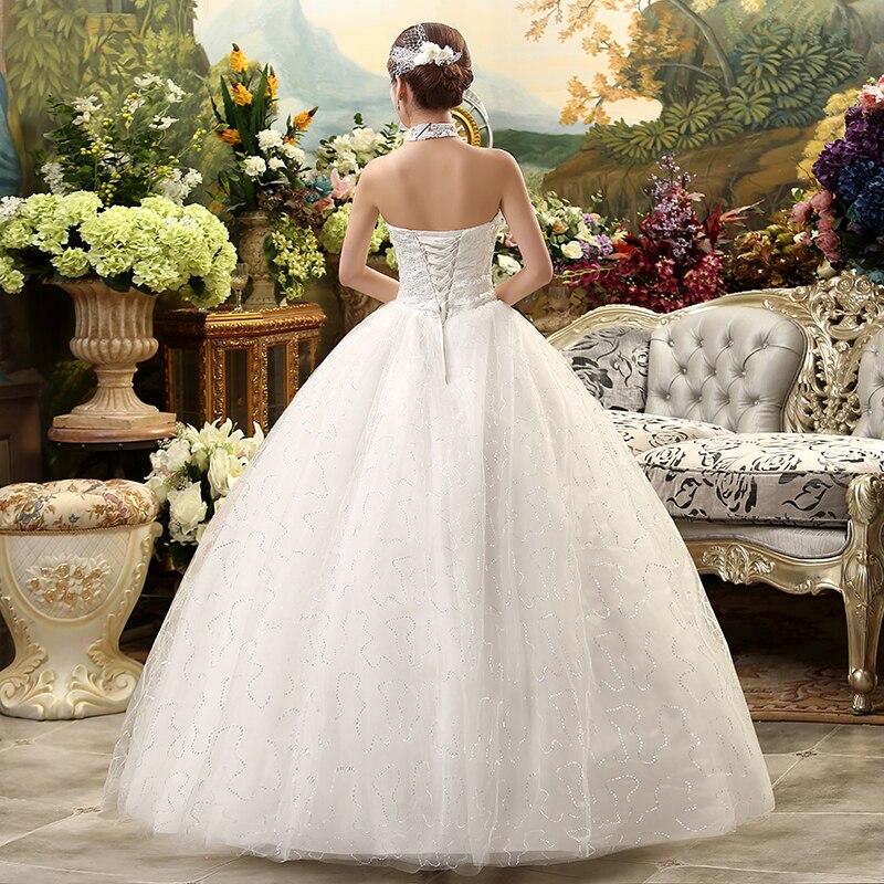 Image 5 - Fansmile 2019 Cheap Halter Lace Wedding Dress Vintage Vestidos de Novia Plus Size Bride Dress Under $100 Free Shipping FSM 040F-in Wedding Dresses from Weddings & Events