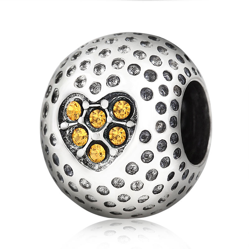 Fits Pandora charms Bracelets Authentic 100% 925 sterling silver zirconia golfball Beads for Jewelry making