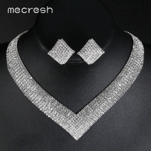 Mecresh кристалл свадебные комплекты ювелирных изделий африканские Бусины Серебряного цвета со стразами женское ожерелье наборы обручальные ювелирные изделия MTL475