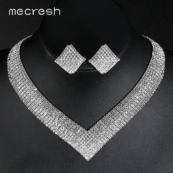 Mecresh Crystal Bridal Wedding Jewelry Sets African Beads Silver Color Rhinestone