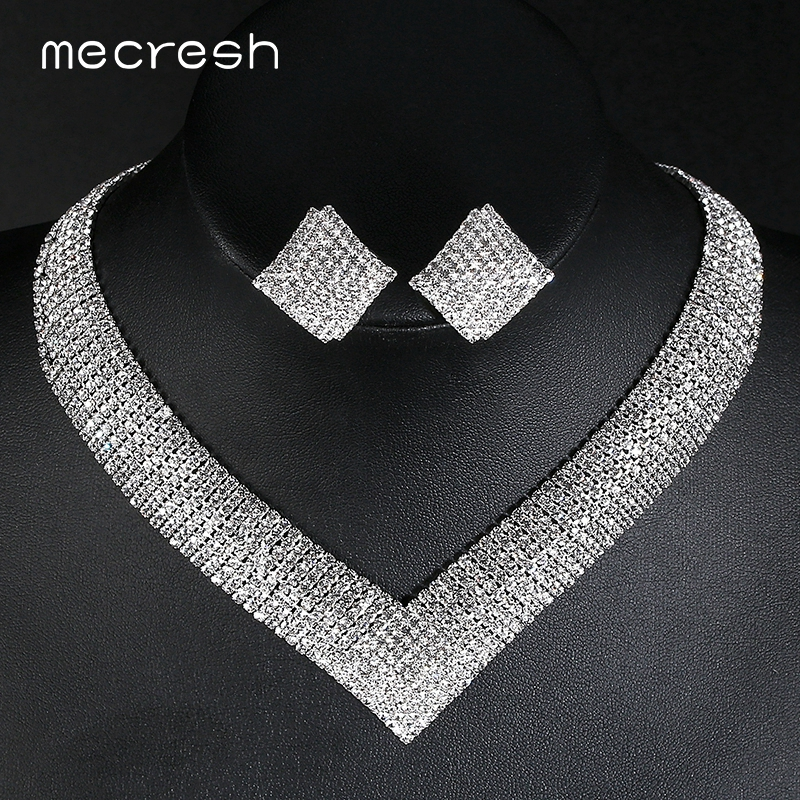 Mecresh Crystal Bridal Wedding Jewelry Sets African Beads Silver Color Rhinestone Women Necklace Sets Engagement Jewelry MTL475