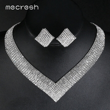 Mecresh Classic Crystal Wedding Jewelry Sets for Women Clear Geometric Rhinestone Necklace Set Bridal Engagement MTL475