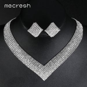 Mecresh Necklace-Sets Jewelry Crystal Rhinestone Engagement African Beads Bridal Silver-Color