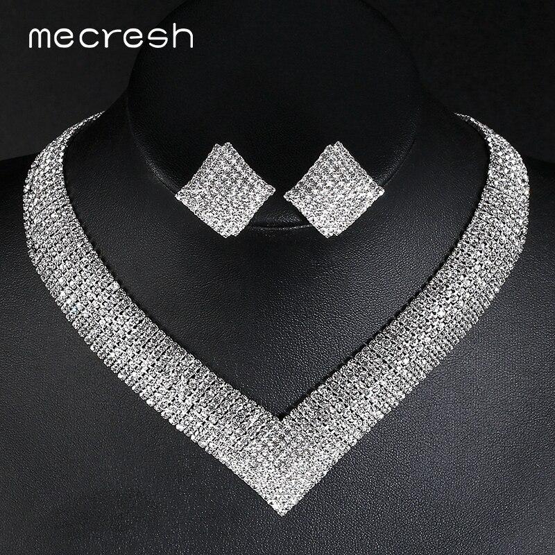 Mecresh de cristal joyería nupcial de la boda establece Africana perlas de Color plata Rhinestone de las mujeres conjuntos de collar joyería de compromiso MTL475