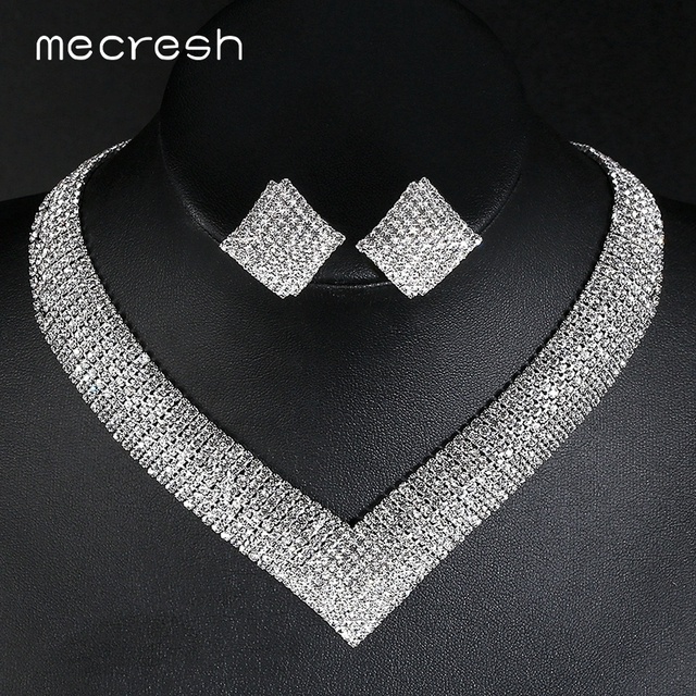 Mecresh קריסטל כלה חתונת תכשיטים אפריקאים סטי חרוזים כסף צבע ריינסטון נשים שרשרת סטי תכשיטי אירוסין MTL475