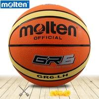 Originele molten basketbal bal GR6-LH Molten rubber Materiaal Officiële Size6 Gratis Met Net Bag + Naald gebruik voor Tiener/vrouw