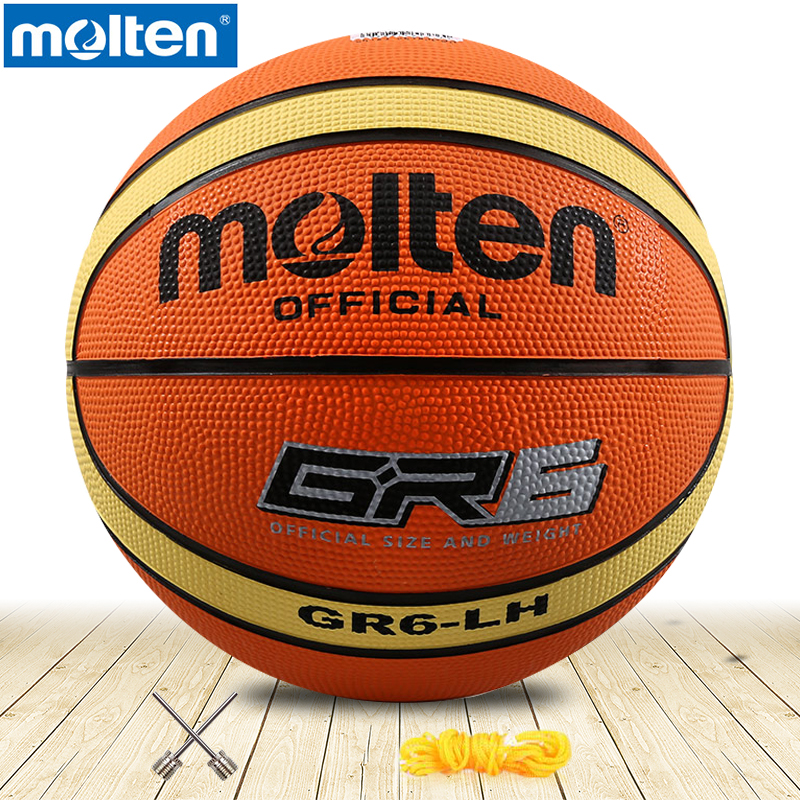 Original Molten Basketball Ball GR6  Molten Rubber Material Official Size6 Free With Net Bag+ Needle Use For Teenager /woman