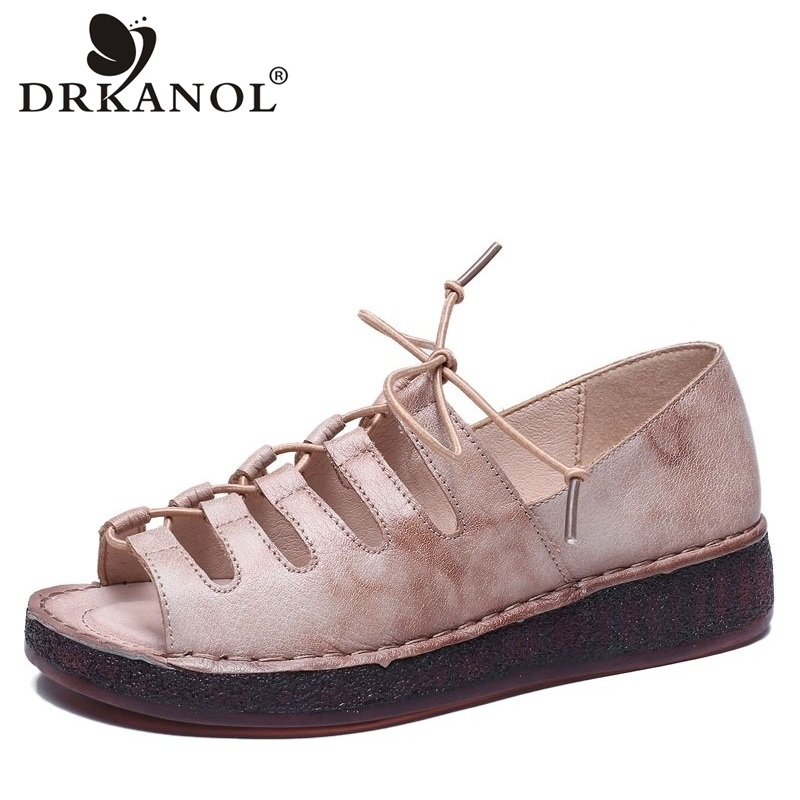 DRKANOL Genuine Leather Casual Sandals Women Gladiator Sandals 2019 New Design Soft Open Toe Women Flat