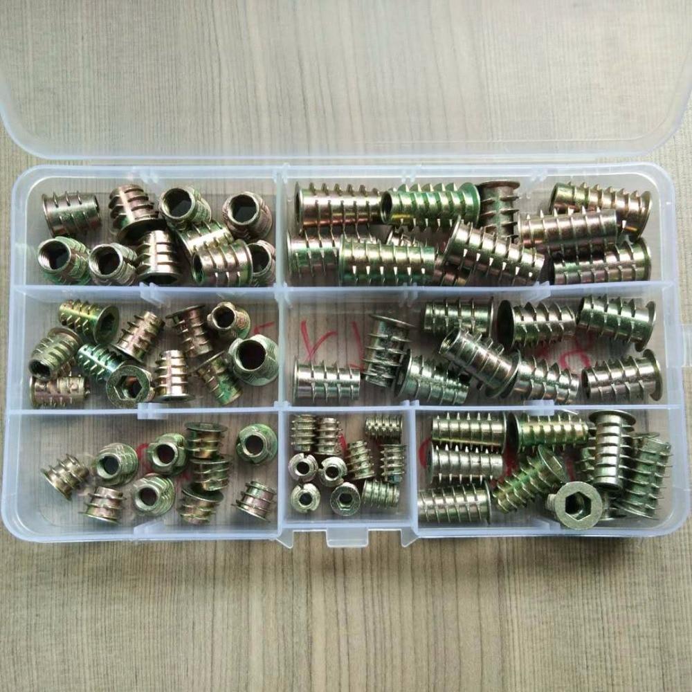 70Pcs/set M4//M6/M8*8/10/13/18/20/25 Zinc Alloy Thread For Wood Insert Nut Flanged Hex Drive Head Furniture Nuts Assortment Kit 70Pcs/set M4//M6/M8*8/10/13/18/20/25 Zinc Alloy Thread For Wood Insert Nut Flanged Hex Drive Head Furniture Nuts Assortment Kit