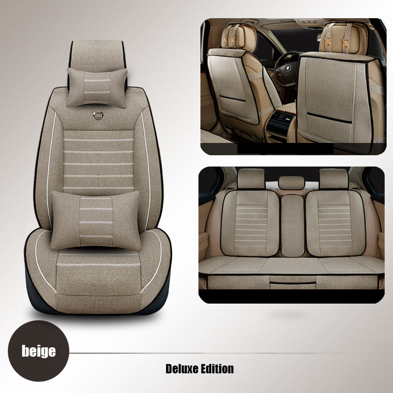 High quality linen Universal car seat cover for Ford mondeo Focus Fiesta Edge Explorer Taurus S-MAX dedicated car accessories ouzhi for ford focus 2 3 mondeo fiesta f150 orange brown brand designer luxury pu leather front