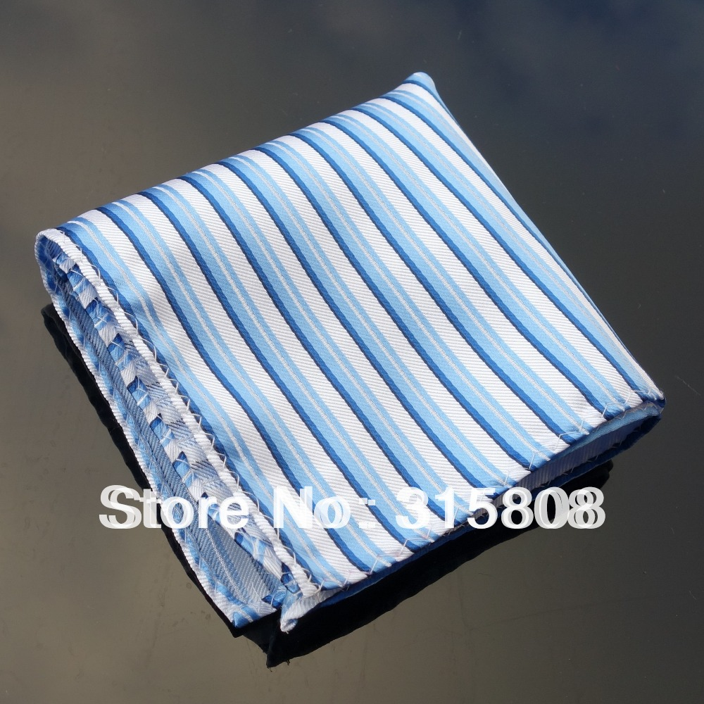 Ikepeibao Hankie Blue White Stripes Men's Fashion Pocket Square Handerchief Wedding Party Accessaries