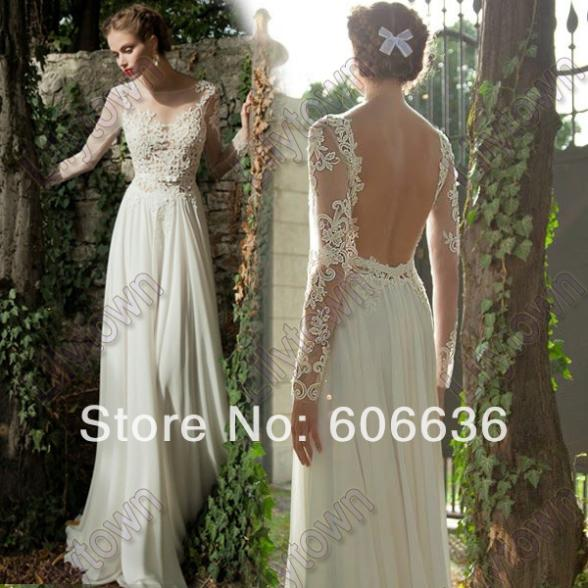Summer Wedding Dresses Long Sleeves Backless Silk  Online Get Cheap Silk Chiffon Wedding Dress  Aliexpress com  . Long Sleeve Backless Wedding Dresses. Home Design Ideas