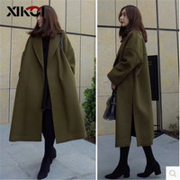 Winter Coat Women Wool Jacket Long Cotton Single Breasted Black Coats Women Outerwear Jacket Fashion Female Blends Overcoat
