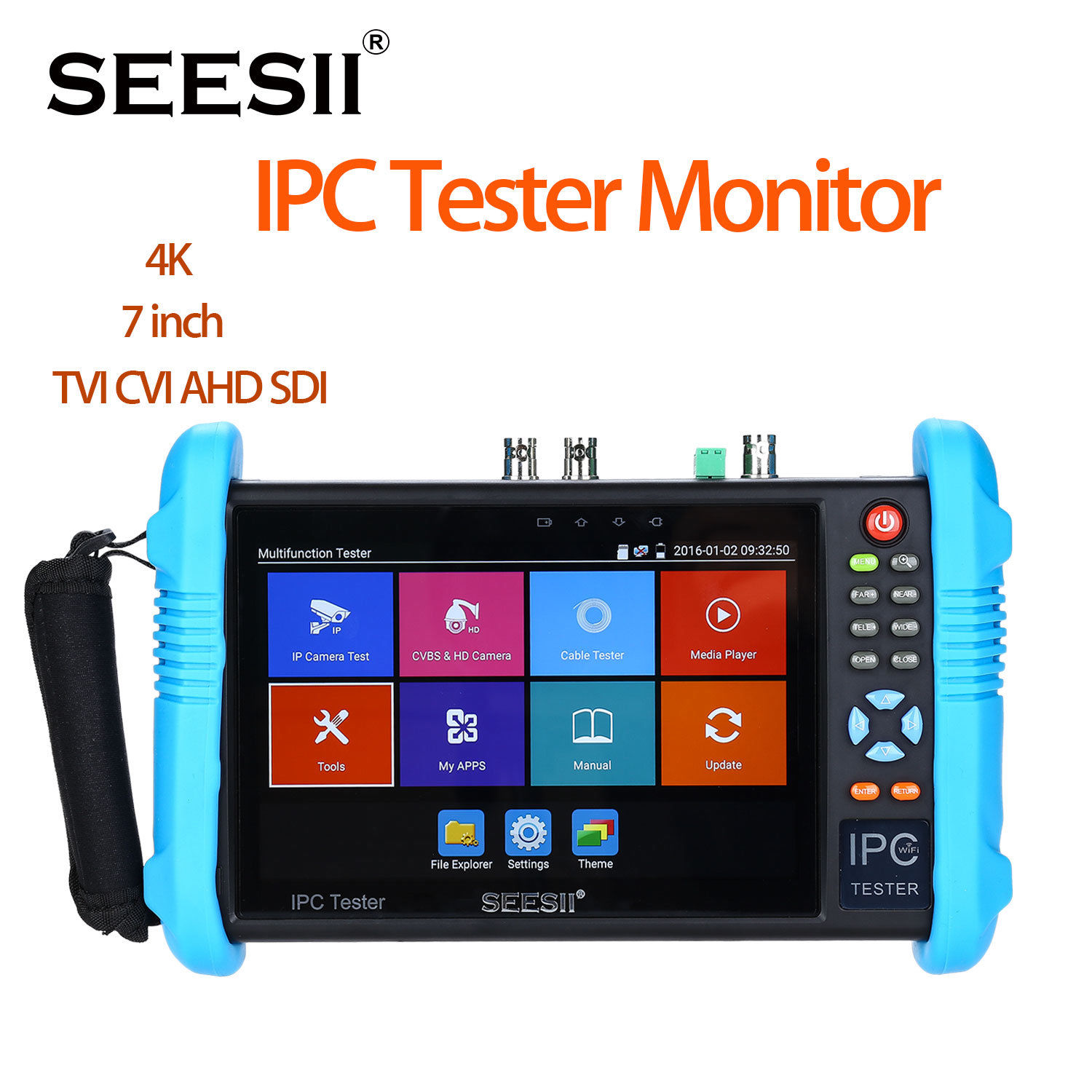 SEESII IPC 9800ADHSPLUS 7 IP Camera Tester 4K 1080P IPC CCTV TVI SDI CVBS Analog Video Test HDMI PTZ Control Touch Screen H.265