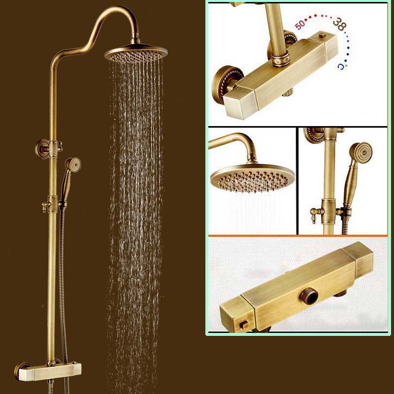 Brass Antique Bathroom Two Handle Shower Thermostatic Faucet Set Wall Mount Temperature Control Shower Mixer Taps wall mount thermostatic shower faucet mixers chrome dual handle bathroom hand held bath shower taps