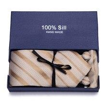 Gift Box Mens Tie Silk Ties Set 100%Silk Jacquard Woven Necktie Handkerchiefs Cufflinks For Men Wedding Corbatas