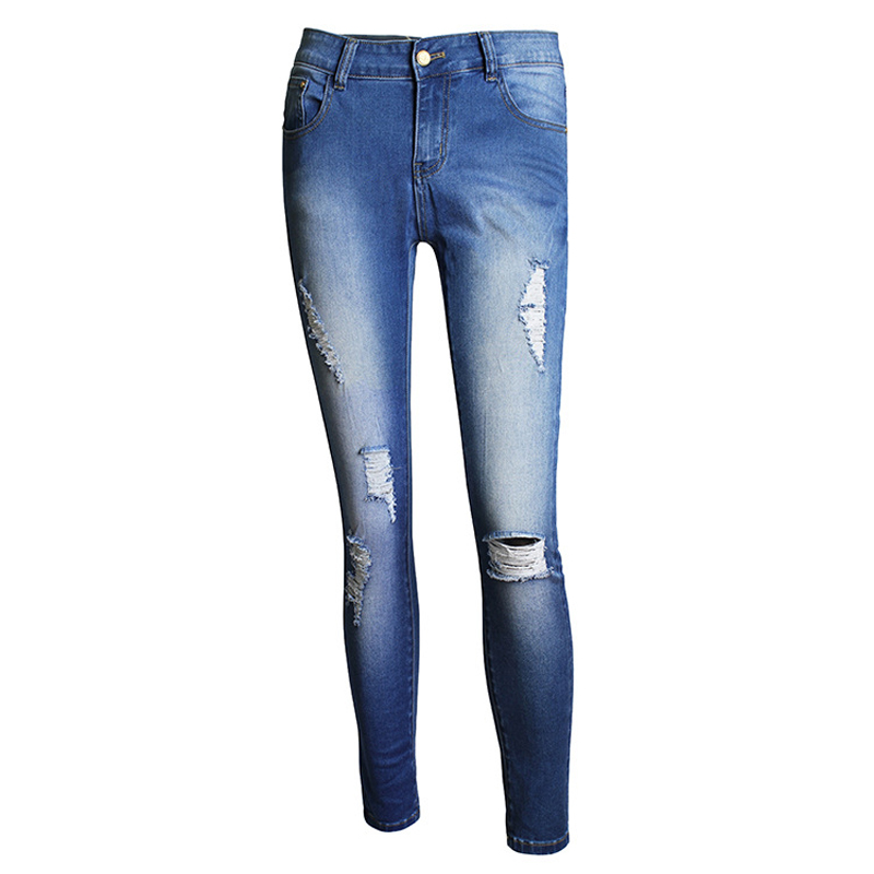 2017 Women Hole Slim Jeans Female Vintage High Waist Pencil Woman Cotton Blue Denim Pants Plus Size Clothing WJNAM020