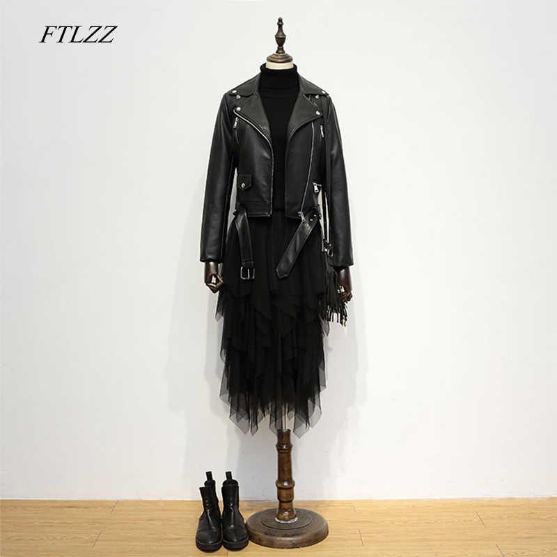 FTLZZ 2019 New Fashion Women Autumn Winter Black Pu Leather Jackets Zipper Pocket Long Sleeve Coat Turn Down Collar Biker Jacket