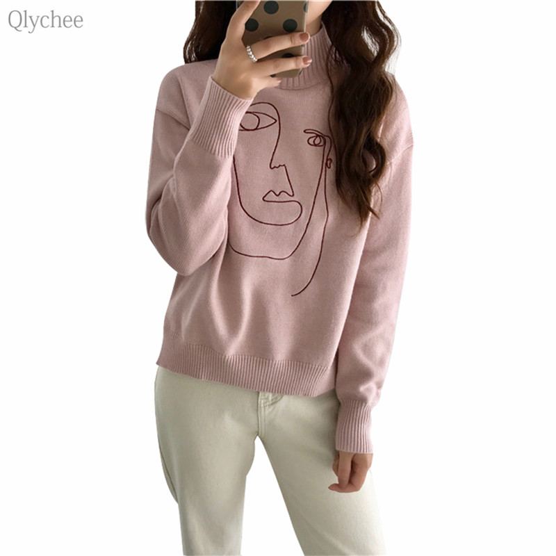 Qlychee Face Embroidery Sweater Female Long Sleeve Turtleneck Warm Pullover Autumn Winter Casual Sweet Women Sweaters