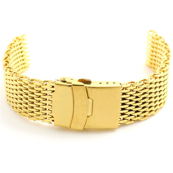Golden 22mm Band Width Mesh Web Wrist Watch Band Strap Bracelet Mens Womens Gold Fold over clasp with safety and push button  green 50mm width 2m 2t flat eye to eye web lifting strap tow strap
