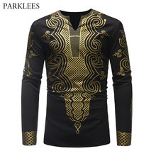 3D Traditional Tribal Ethnic Print T Shirt Men 2018 Autumn New African Dashiki Mens T Shirts Hip Hop Hipster T Shirt Homme Black(China)
