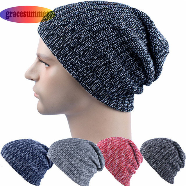 New Hats for Men Knitting Keep Warm Beanie Cool Black Solid Winter Beanie  Men Skeleton Knitted f4079380b80