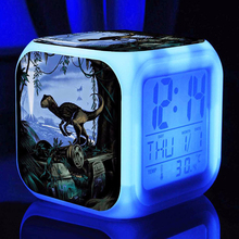 Science fiction film Jurassic Park Alarm Clocks,Color changing Dinosaur Alarm Clocks kids toys gift Multifunction alarm clocks