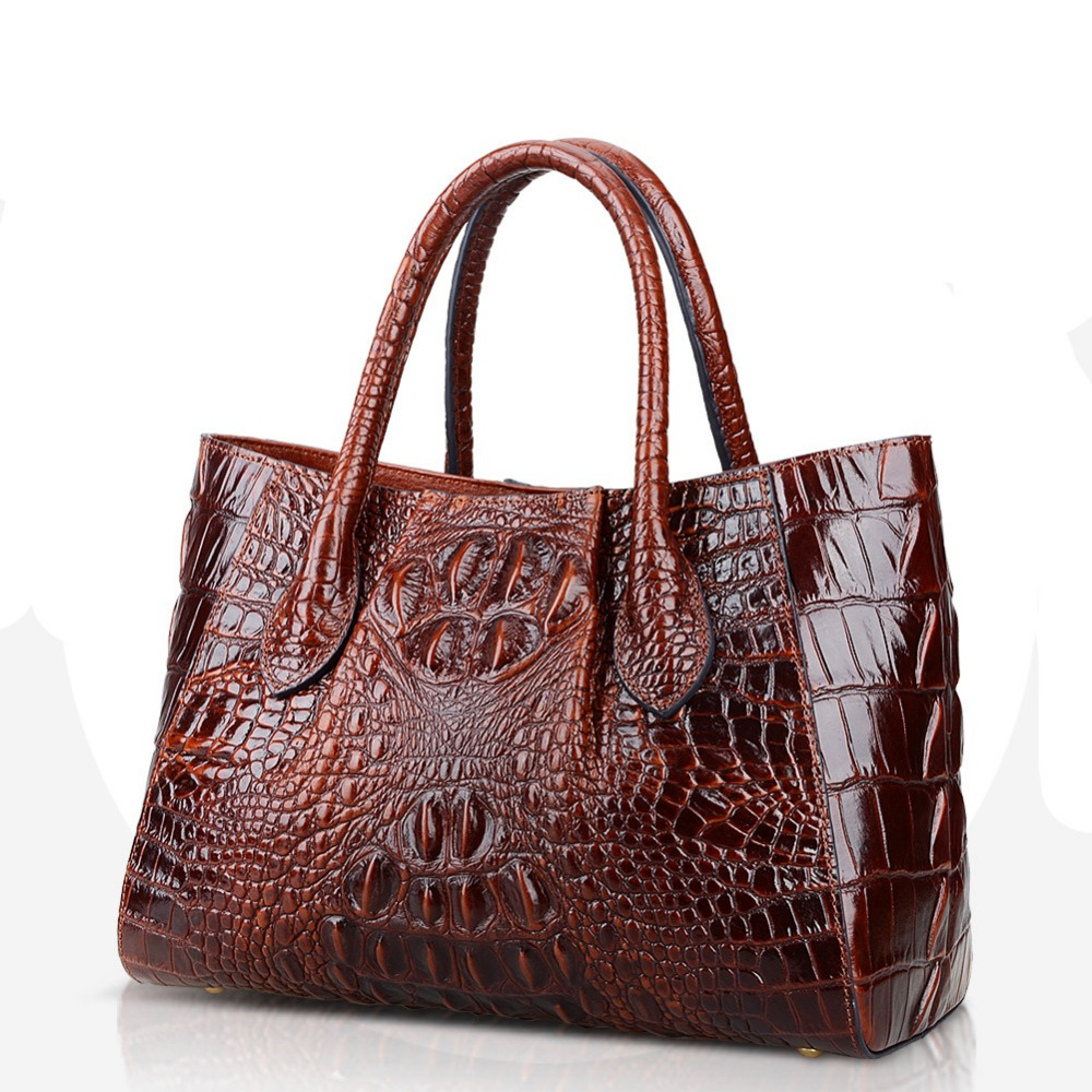 Crocodile Pattern Genuine Leather Women Bag\Handbag Cowhide ladies' Tote Casual Shoulder Bag Messenger Bag Big Bag~18B30 free delivery genuine leather women bag 2016 new simple casual shoulder bag crocodile pattern messenger bag