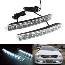 цены 1 Pair 9 LED Car DRL White Light Fog Lamp Daytime Turn Signal Yellow LED Lamp for Audi BMW Lexus