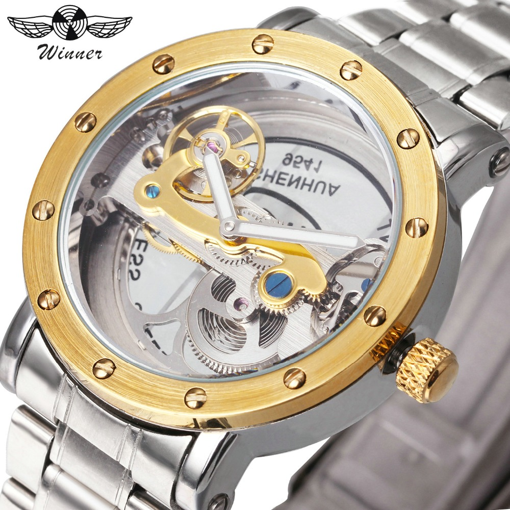 WINNER Auto Mechanical Watches men Golden Bridge Top Brand Luxury Silver Stainless Steel Strap Skeleton Watch relogios masculino t winner luxury brand skeleton mechanical hand wind watch men casual sports leather strap gold fashion clock relogios masculino
