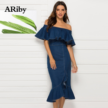 ARiby Women Dress Tight Sexy Party Denim Summer 2019 Fashion Sheath Solid Ruffles Slash Neck Blue Mermaid