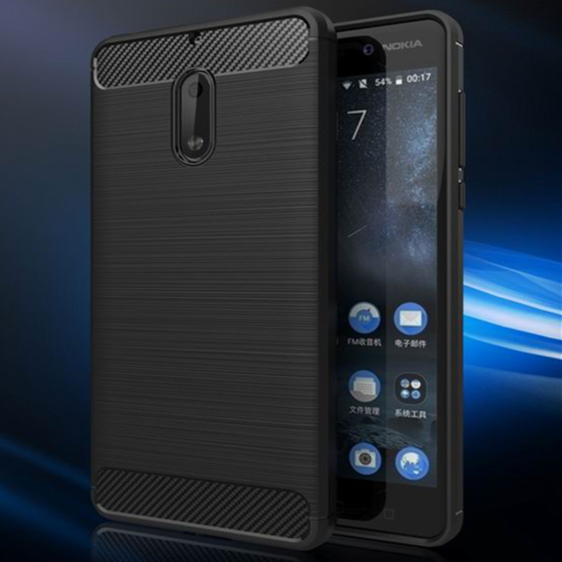 Soft TPU Anti Skid Environmental Carbon Fiber Texture Brushed Silicone Cover For