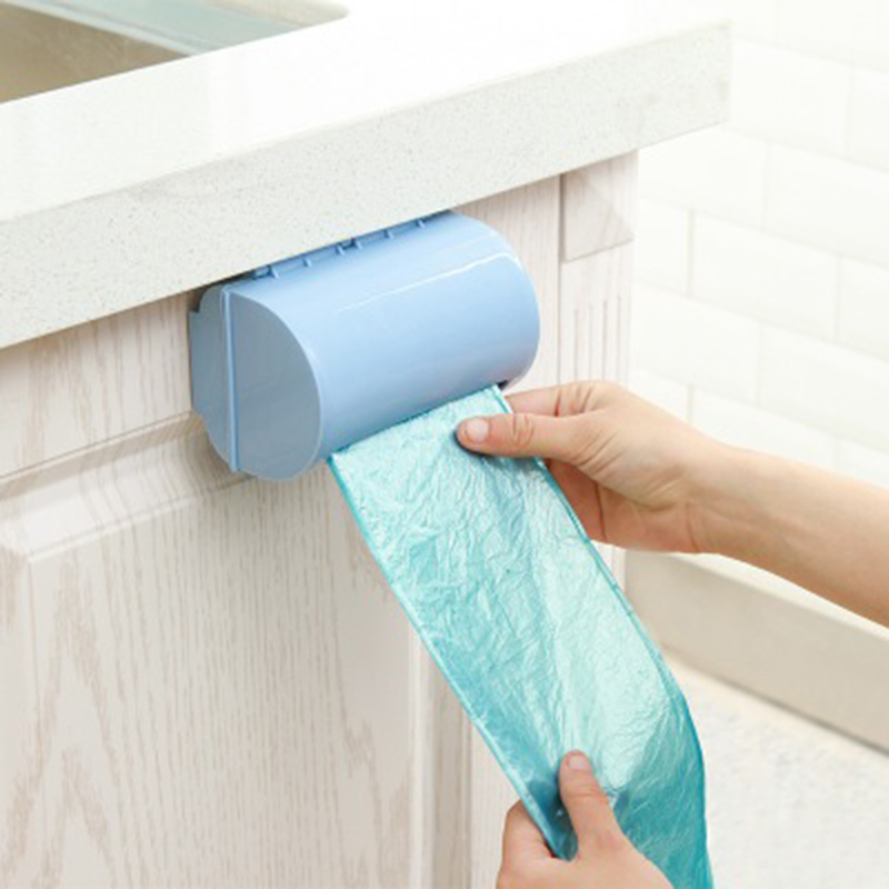 Wall-mounted Plastic Bag Storage Box Garbage Trash Bags Storage Container Kitchen Supplies Plastic Storage Box