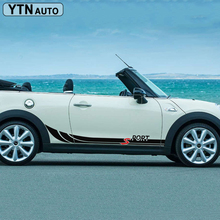 free shipping 2 PC racing side door stripes sports car sticker for mini