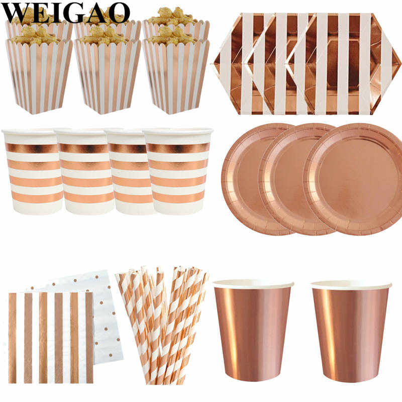 WEIGAO Rose Gold Party Disposable Tableware Champagne Cup Plate Straws 1st Birthday Party Decor Kids Baby Shower Party Supplies
