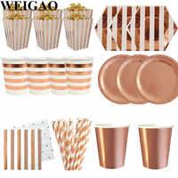 WEIGAO Rose Gold Party Einweg Geschirr Champagner Tasse Platte Strohhalme 1st Geburtstag Party Decor Kinder Baby Shower Party Supplies