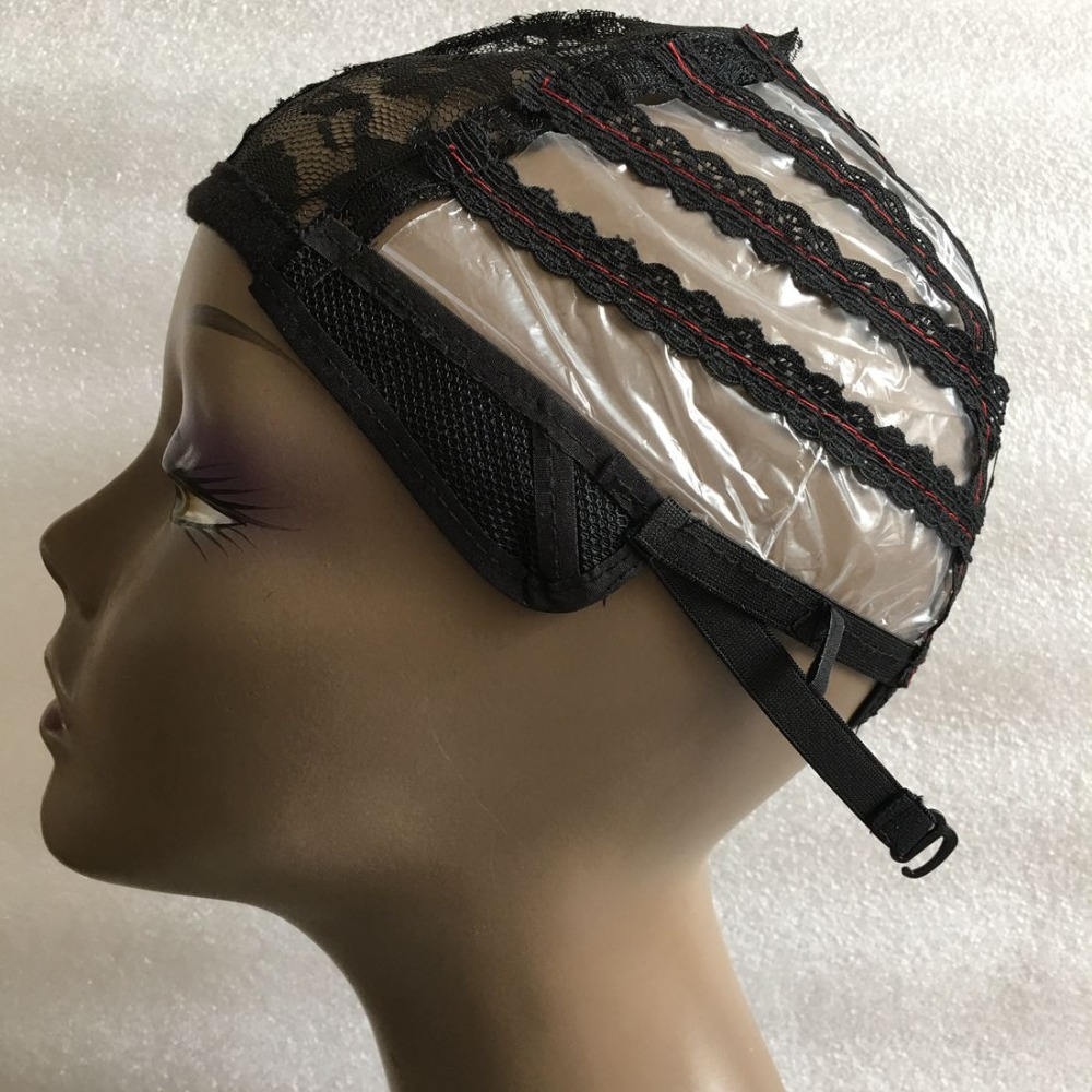 5 PCS Black Plastic Wig Making Cap For Making Machine Wigs Hair Net With Adjustable Strap