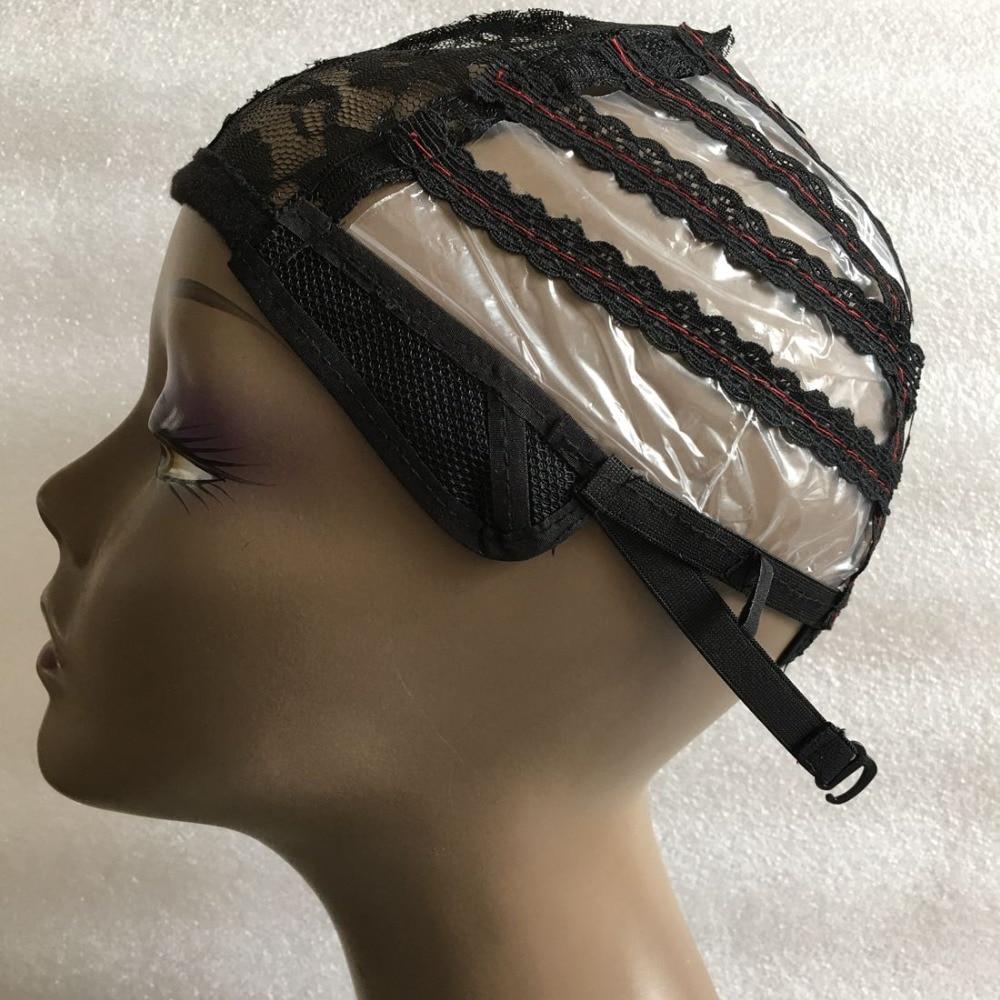 5 PCS μαύρη πλαστική περούκα καθιστώντας καπάκι για την κατασκευή περούκες μηχανών Μαλλιά με ρυθμιζόμενο ιμάντα