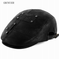 GBCNYIER Old Men Sheepskin Leather Hat Winter Warm Real Leather Berets Male Casual Golf Sun Hats Winter And Spring Cap