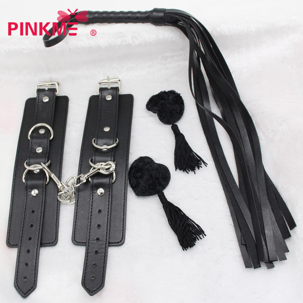 Costumes Accessories Whip handcuffs silicone NIPPLE sticker Imitation leather whip Role play sex games strap queen suit