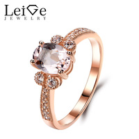 Leige Jewelry Morganite Ring Rose Gold Wedding Engagement Rings for Women Oval Cut Pink Gemstone Delicate Fine Jewelry