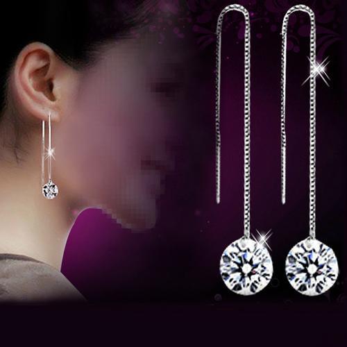 Feminino zircônia cúbica banhado a prata balançar longo corrente linha brincos jóias quente